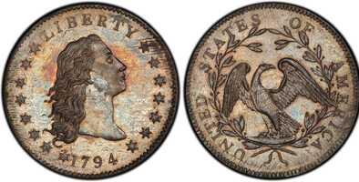 Este histórico y raro dólar de plata de 1794 acuñado en Filadelfia  está en subasta y puede ser suyo