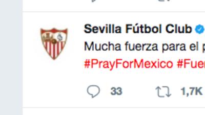 Sevilla  envía mensaje de a poyo a México tras el temblor