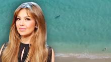 Thalía capta en su celular cómo un desconocido escapó de una mantarraya gigante
