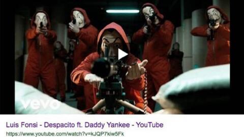 Hackean el video de 'Despacito' en Youtube y en su lugar colocan una imagen de encapuchados con armas