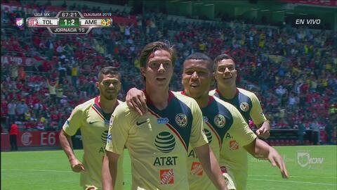 Autogol del Toluca y el América ya lo gana 1-2