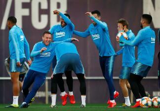 El buen ambiente en Barcelona antes del partido contra Real Madrid en Copa del Rey