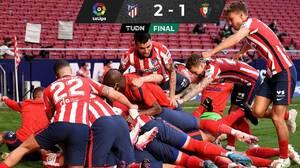 El Atleti vence al Osasuna y acaricia el título de LaLiga