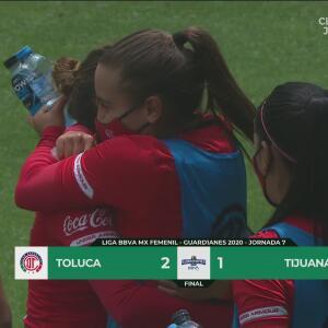 Toluca Femenil se impone dramáticamente 2-1 a Tijuana en la Jornada 7