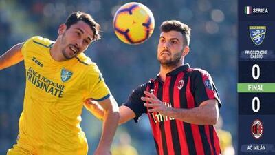¡Crisis rossonera! Milan no puede con el sotanero Frosinone e hilvana cuatro juegos sin ganar