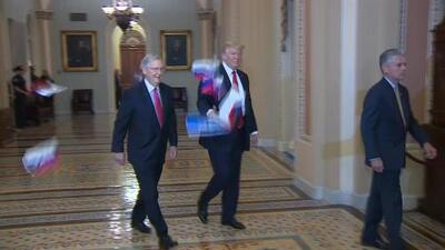 """""""Trump es traición"""": un manifestante le lanza banderas rusas a Trump dentro del Capitolio"""