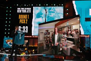 CLEVELAND, OHIO - APRIL 29: NFL Commissioner Roger Goodell announces the Jacksonville Jaguars selection of Trevor Lawrence with the first pick of the 2021 NFL Draft at the Great Lakes Science Center on April 29, 2021 in Cleveland, Ohio. (Photo by Gregory Shamus/Getty Images)