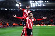 SOUTHAMPTON, ENGLAND - APRIL 05: Maya Yoshida of Southampton celebrates scoring his sides second goal with Jack Stephens of Southampton during the Premier League match between Southampton and Crystal Palace at St Mary's Stadium on April 5, 2017 in Southampton, England. (Photo by Ian Walton/Getty Images)