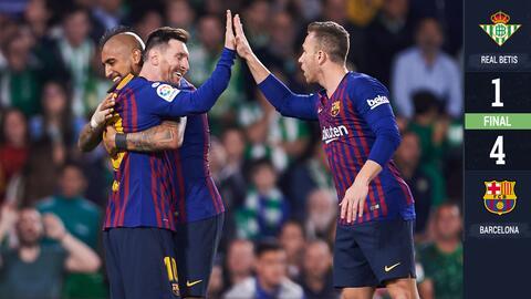 Un capítulo más del show de Messi fulminó al Betis; Lainez dio asistencia