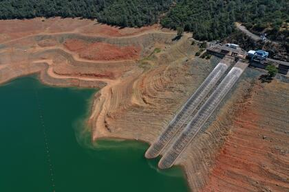OROVILLE, CALIFORNIA - JULY 22: In an aerial view, intake gates are visible at the Edward Hyatt Power Plant intake facility at Lake Oroville on July 22, 2021 in Oroville, California. As the extreme drought emergency continues in California, Lake Oroville's water levels are continuing to drop to 28 percent of capacity. State water officials say that Lake Oroville's Edward Hyatt Power Plant might be forced to shut down the hydroelectric plant as soon as August or September if water levels continue to drop. (Photo by Justin Sullivan/Getty Images)