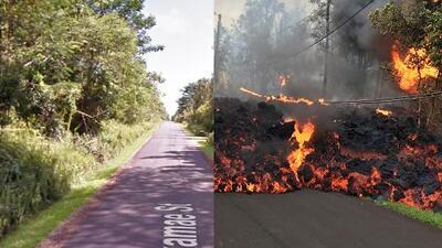 Con y sin lava: el antes y después tras las erupciones del volcán Kilauea de Hawaii
