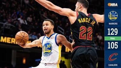 Warriors apaleó a los Cavs a domicilio con enorme actuación de Steph Curry con 42 puntos