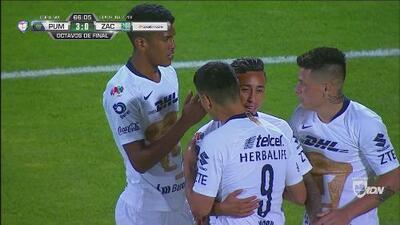 Goles con los que Pumas derrotó 3-0 a Zacatepec en la Copa MX