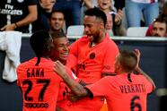 PSG Neymar, center, and Mbappe celebrate after scoring during the French League One soccer match between Bordeaux and PSG at the Matmut stadium in Bordeaux, southwestern France, Saturday, Sept. 28, 2019. (AP Photo/Bob Edme)