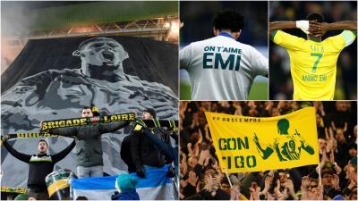 Sentidos homenajes le rindieron Nantes y sus aficionados a Emiliano Sala ante Saint-Etienne