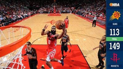 Rockets imponen récord NBA con 27 triples en paliza ante los Suns