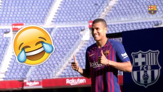 Dominadas sin dominio: Jeison Murillo hizo la gran Dembélé en la presentación con el Barça