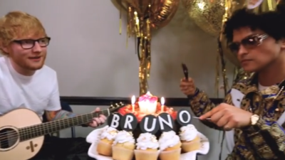 "Bruno Mars hires Ed Sheeran to sing him ""Happy Birthday"""