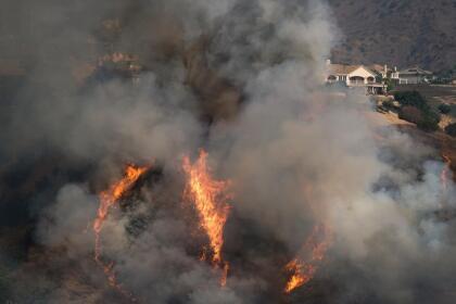 El fuego se propagó rápidamente hacia el oeste, inicialmente a través de las líneas del condado de San Bernardino hacia Chino Hills y luego a través de las líneas del condado de Orange hacia Yorba Linda.