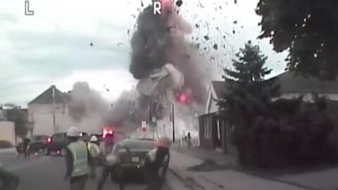 El momento en que una tubería de gas explota en Wisconsin