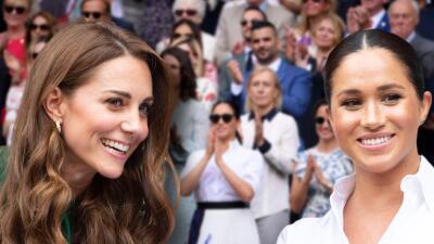Sonrientes y platicadoras, así estuvieron Kate Middleton y Meghan Markle en el palco real en Wimbledon