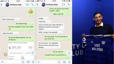 'Screenshots' de WA muestran que Emiliano Sala rechazó vuelo comercial a Cardiff