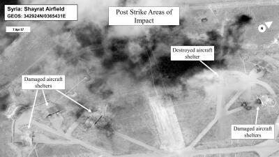 En fotos: Así quedó la base militar siria luego del ataque de Estados Unidos