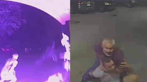 (Video) Hombre suplica a luchador que lo deje ir después de iniciar un fuego en la casa del vecino