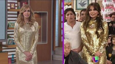 Lili Estefan se viste como Thalía para defender el look de la cantante en el cumpleaños de su abuela