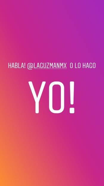 """""""Habla Alejandra Guzmán ¡o lo hago yo!"""", comentó la hija de la cantante en sus historias de Instagram."""