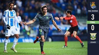Sin Héctor Moreno ni Diego Reyes en acción, la Real Sociedad goleó al Leganés