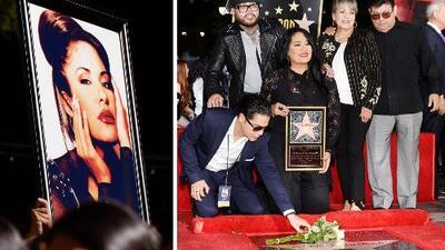 La familia Quintanilla, Los Dinos y Eva Longoria develaron la estrella de Selena en el Paseo de la Fama