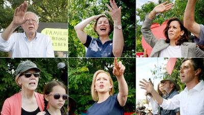Las fotos de los precandidatos demócratas que visitaron el centro de detención de menores en Homestead