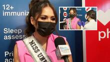 Acompañamos a la Miss Universo Andrea Meza a ponerse la primera dosis de la vacuna contra el covid-19