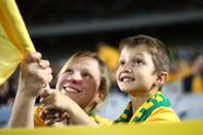 SYDNEY, AUSTRALIA - OCTOBER 10: Fans cheer during the 2018 FIFA World Cup Asian Playoff match between the Australian Socceroos and Syria at ANZ Stadium on October 10, 2017 in Sydney, Australia. (Photo by Ryan Pierse/Getty Images)