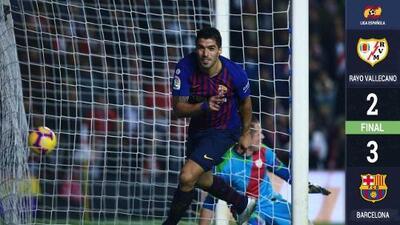 Un doblete de Luis Suárez evita la sorpresa del Rayo Vallecano en La Liga