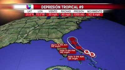 Esta es la trayectoria actualizada de la depresión tropical que amenaza al este de Florida