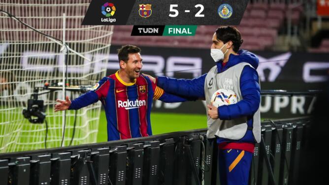Barcelona golea al Getafe con doblete de Messi