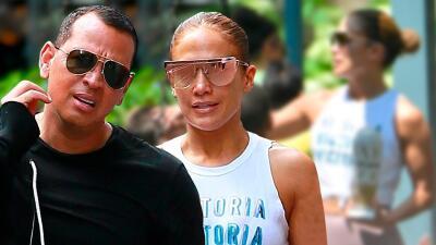 Aunque está de gira, Jennifer López pasa tiempo en el parque con sus hijos y en el gym con A-Rod