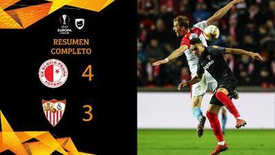 Slavia Praga 4-3 Sevilla - GOLES Y RESUMEN - VUELTA - OCTAVOS DE FINAL - UEFA Europa League