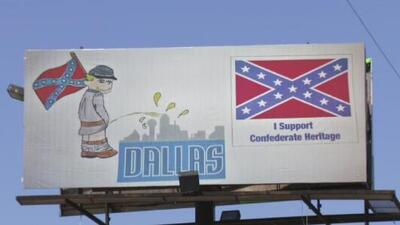 Controversia por valla publicitaria donde se ve a un soldado confederado orinando sobre la ciudad de Dallas