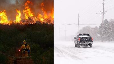 Mientras el fuego arrasa California, gran parte del sur del país está bajo la nieve
