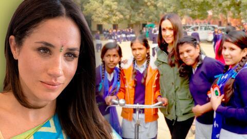 Video de Meghan Markle ayudando a niñas en la India sale a la luz días antes de que se convierta en mamá