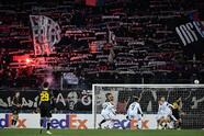 FC Basel's supporters light flares during the UEFA Europa League last 32 second-Leg football match between FC Basel and APOEL FC at St Jakob-Park stadium on February 27, 2020, in Basel. (Photo by FABRICE COFFRINI / AFP) (Photo by FABRICE COFFRINI/AFP via Getty Images)