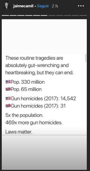 Incluso, en sus historias de Instagram el protagonista de 'La fea más bella' compartió algunos datos relevantes relacionados con tiroteos masivos en EEUU.