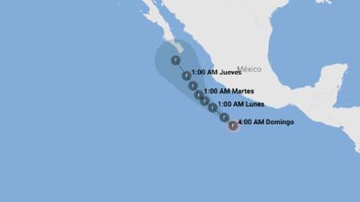 Bud baja de intensidad mientras se dirige a la Península de Baja California