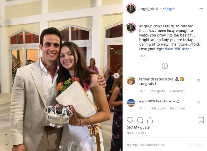 """Nicolás <b> <a href=""""https://www.instagram.com/p/ByG-vjMngtE/"""" target=""""_blank"""">publicó esta foto en Instagram</a></b> acompañada del siguiente mensaje: """"Me siento tan bendecido de haber tenido la suerte de verte crecer y convertirte en la hermosa y brillante joven que eres hoy"""", escribió."""