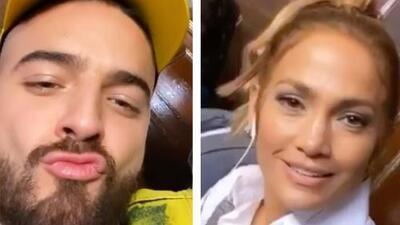 "En plena transmisión en vivo, Maluma le pide un ""besito"" a Jennifer López... ¿le hizo caso?"
