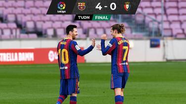 Con golazos de Messi y Griezmann, Barcelona derrota al Osasuna