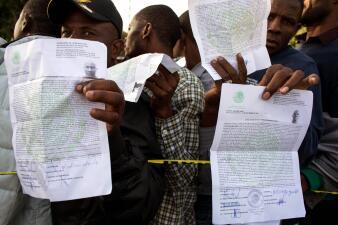 En fotos: Migrantes haitianos en la frontera entre Tijuana y San Diego